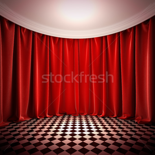 Empty hall with red curtains. Stock photo © nav