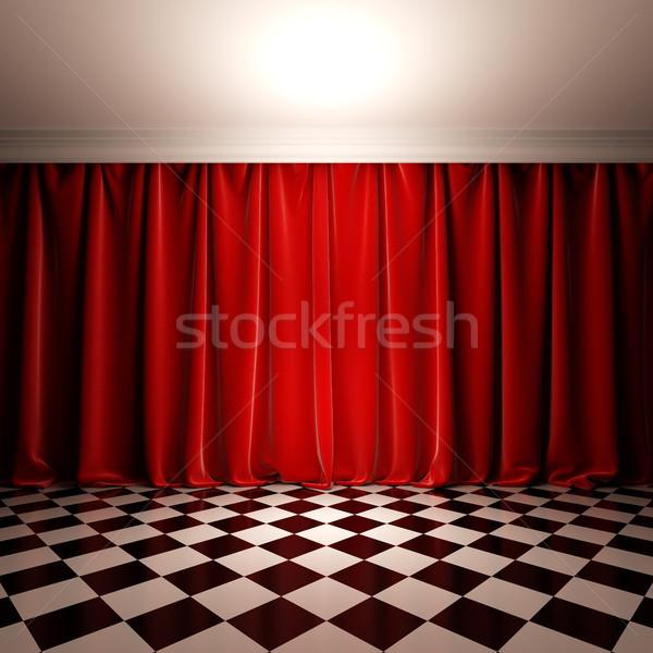 Lege scène Rood fluwelen gordijn 3d illustration Stockfoto © nav