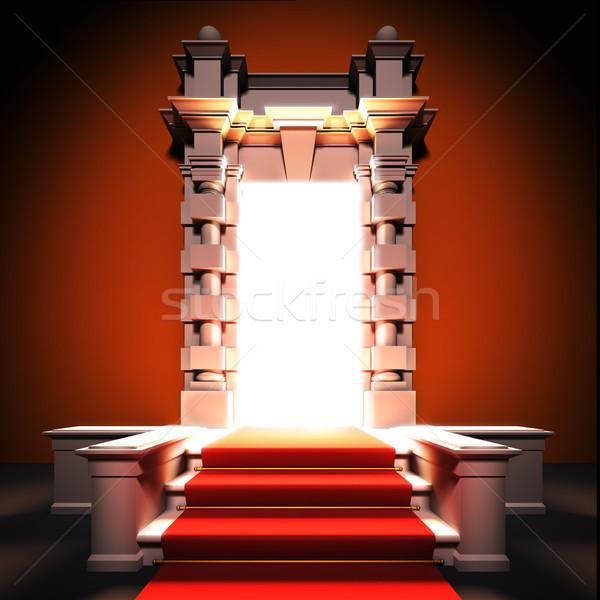 Vörös szőnyeg út klasszikus porta 3d illusztráció buli Stock fotó © nav