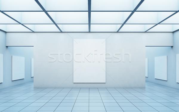 галерея искусства фотографий стены 3d иллюстрации свет Сток-фото © nav