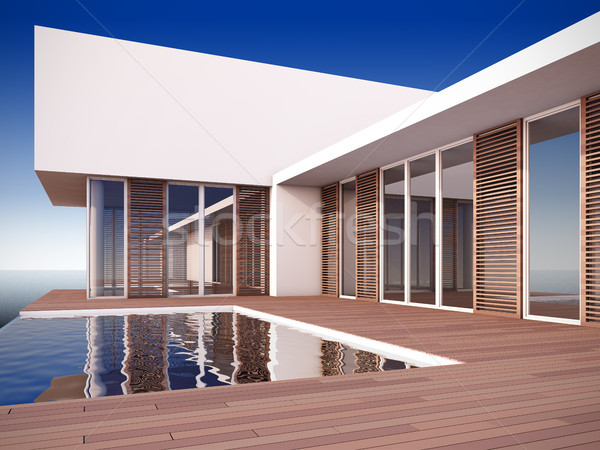 Modern house in minimalist style. Stock photo © nav