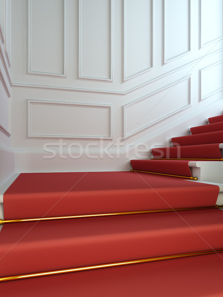 A classical staircase with a red carpet. Stock photo © nav