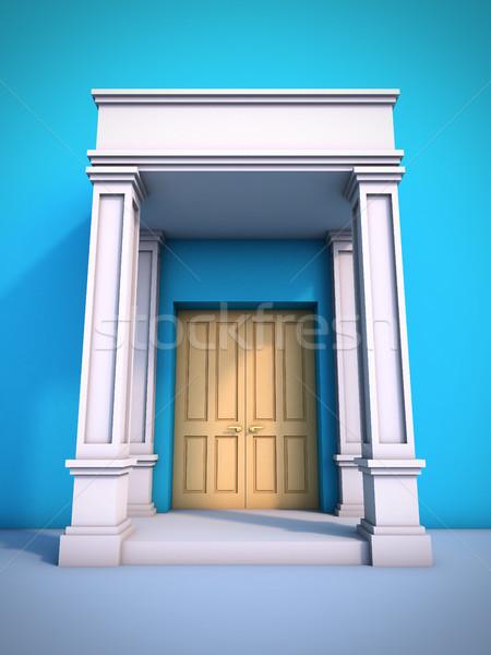 Klasszikus porta 3d illusztráció épület fal kék Stock fotó © nav