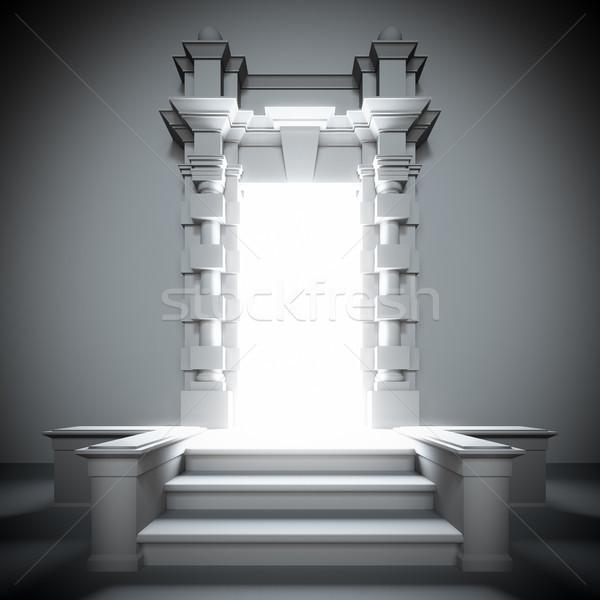 Fehér porta jövő fényes fény 3d illusztráció Stock fotó © nav
