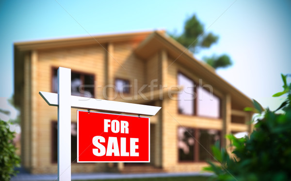 'Home For Sale' sign in front of new house Stock photo © nav
