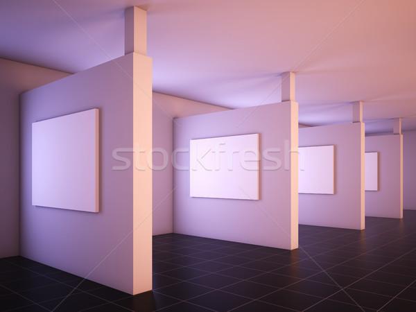 Moderne galerij kunst 3d illustration achtergrond frame Stockfoto © nav