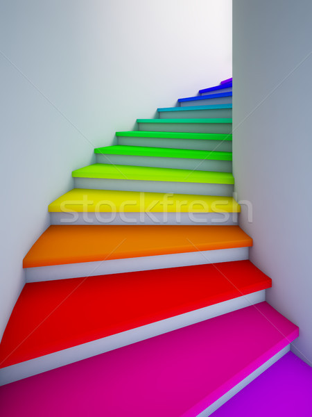 Spiral colorful stair to the future. Stock photo © nav