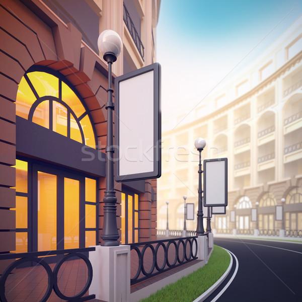 Retail street with blank template billboards. Stock photo © nav