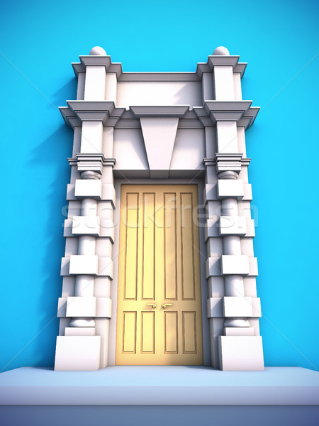Clásico portal 3d edificio pared azul Foto stock © nav