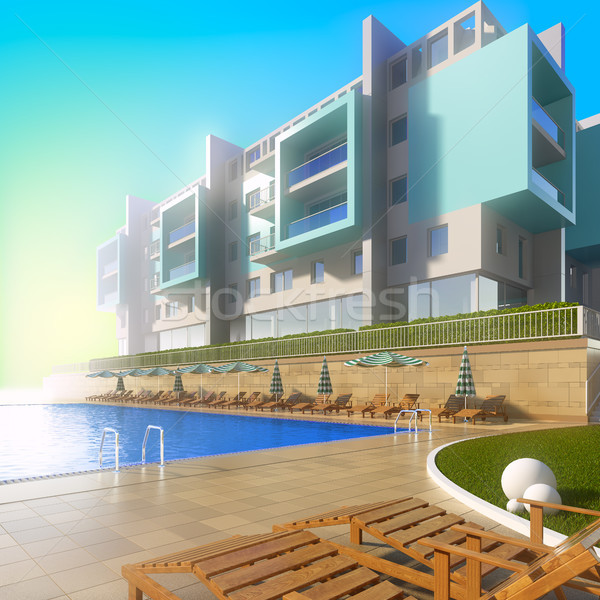 Swimming pool and modern hotel. Stock photo © nav
