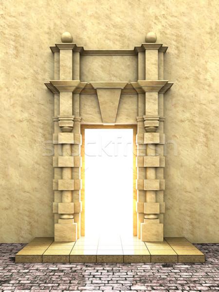 Klasszikus porta 3d illusztráció épület fal fény Stock fotó © nav