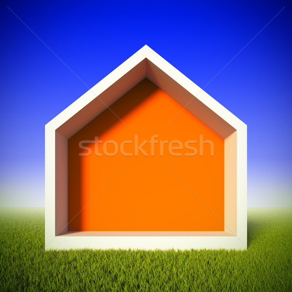A 3d illustration concept of ecology house at green grass field. House shaped frame for insert anyth Stock photo © nav