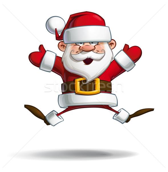 幸せ サンタクロース パラシュート オープン 手 漫画 ストックフォト © nazlisart