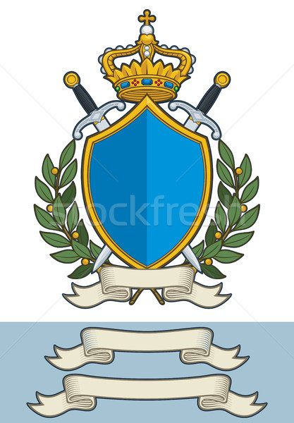 Cartoon Crest - King Crown Sword Scroll and Olive Branches Stock photo © nazlisart