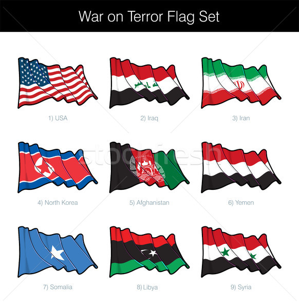 War on Terror Waving Flag Set Stock photo © nazlisart