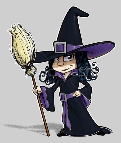Piccolo strega cartoon illustrazione bambina sorriso Foto d'archivio © nazlisart
