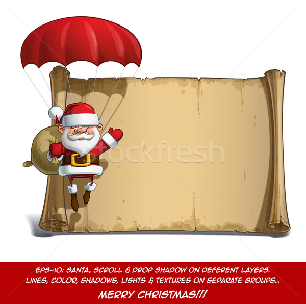 Happy Santa Scroll - Parachute Sack of Gifts Stock photo © nazlisart