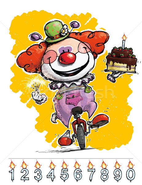 клоуна одноколесном велосипеде именинный торт иллюстрация вечеринка Сток-фото © nazlisart