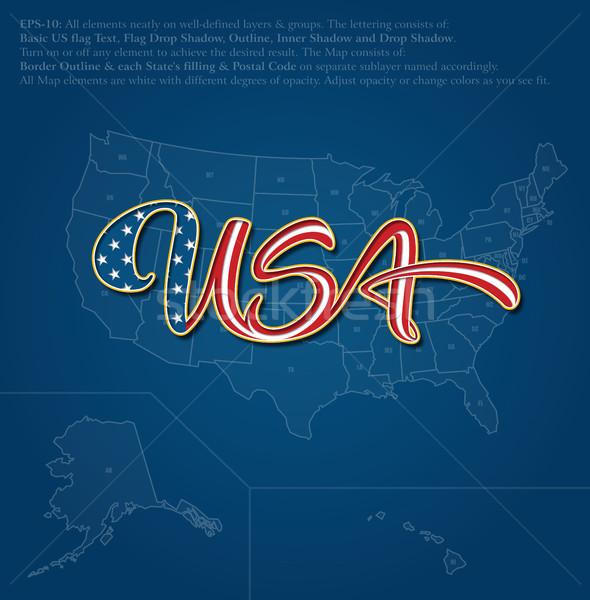 Stok fotoğraf: Amerika · Birleşik · Devletleri · bayrak · metin · harita · mavi · kelime