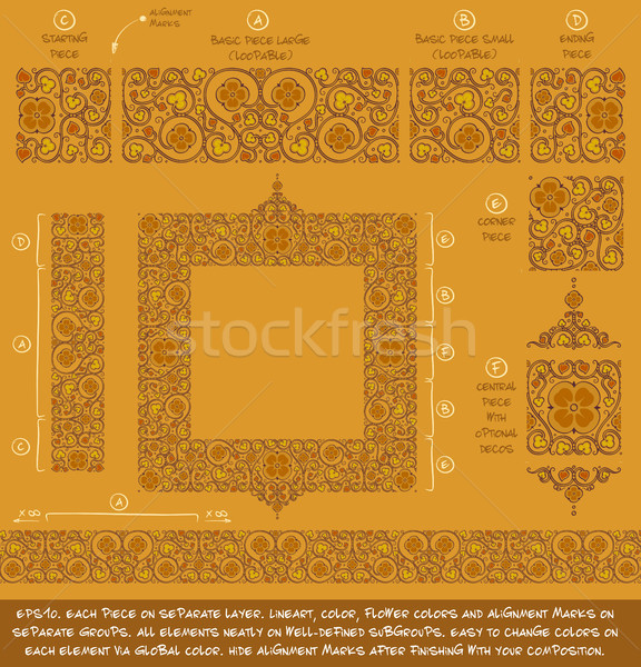 Flower Decorative Ornaments Building Kit - Ochre Stock photo © nazlisart