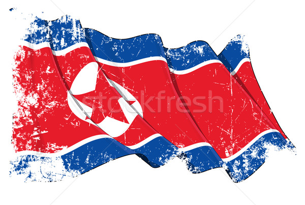 North Korean Flag Grunge Stock photo © nazlisart