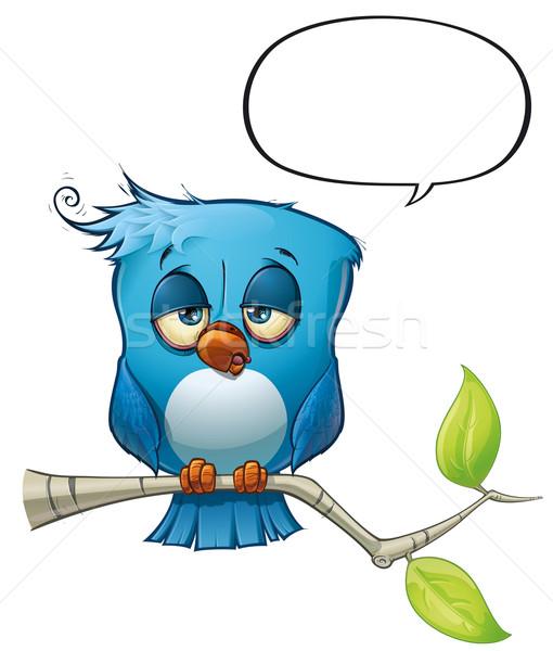 Kék madár álmos stílus hozzászólások vélemények Stock fotó © nazlisart
