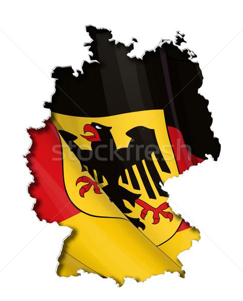Térkép kivágás rendkívül részletes integet zászlók Stock fotó © nazlisart
