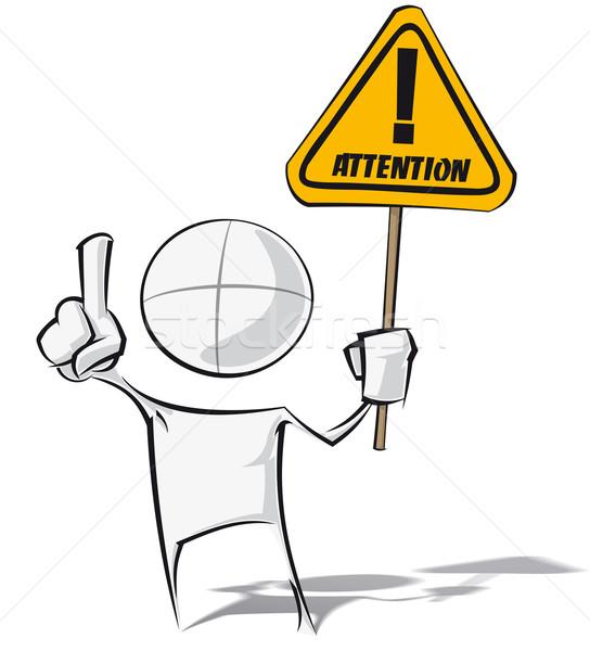 Einfache Menschen Aufmerksamkeit spärlich Zeichentrickfigur Stock foto © nazlisart