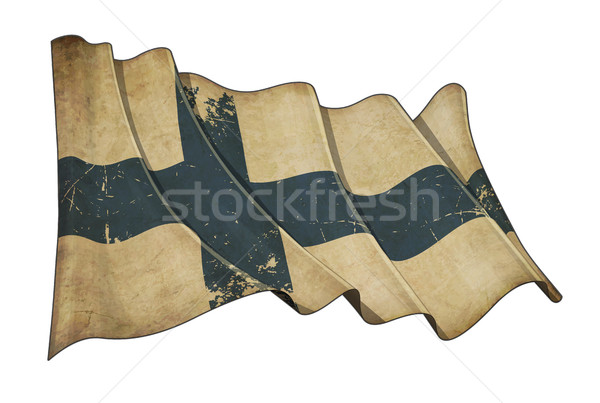 Finnish Aged Scratched Flag Stock photo © nazlisart