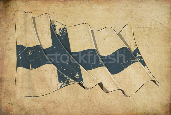 Finnish Grunge Flag Textured Background Stock photo © nazlisart