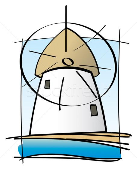 греческий острове мельница простой иллюстрация традиционный Сток-фото © nazlisart
