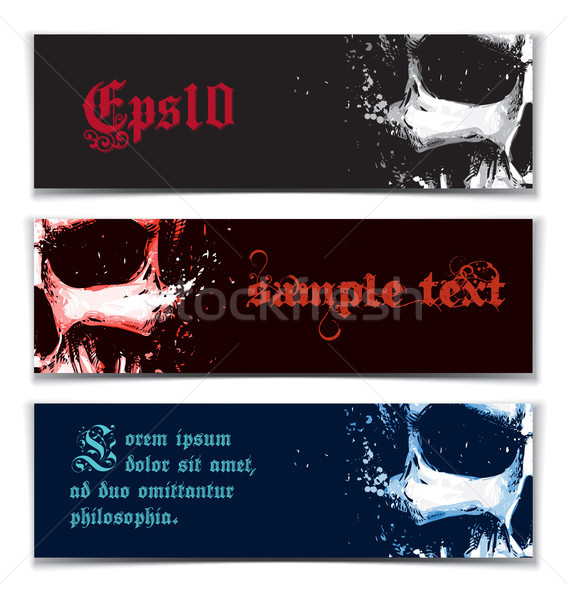 Skull Artistic Splatter Banners Black Red Blue Stock photo © nazlisart