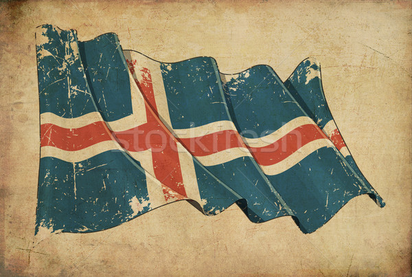 Icelandic Grunge Flag Textured Background Stock photo © nazlisart