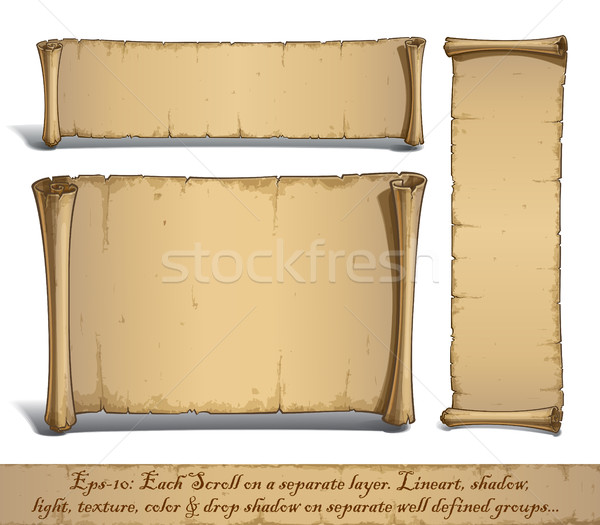 Three Cartoon Scrolls Standing Vertically Stock photo © nazlisart