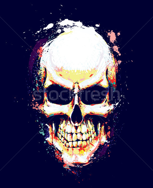Skull Artistic Splatter Yellow n Orange Stock photo © nazlisart