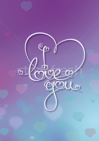 Valentin nap kártya szeretet lila kék vám Stock fotó © nazlisart