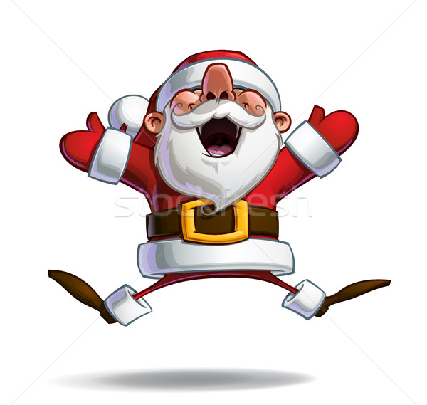 Stock photo: Happy Santa - Jumping in ecstasy with Open Hands