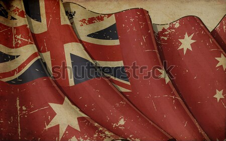 Australisch vlag oud papier illustratie roestige afgedrukt Stockfoto © nazlisart
