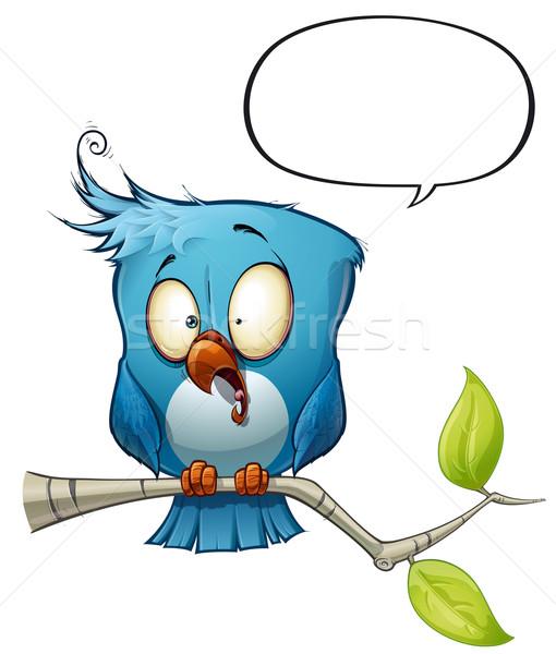 Blauw vogel uit avatar stijl Stockfoto © nazlisart