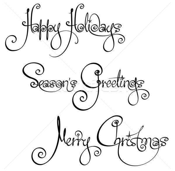 Trois Noël temps écriture coutume Photo stock © nazlisart