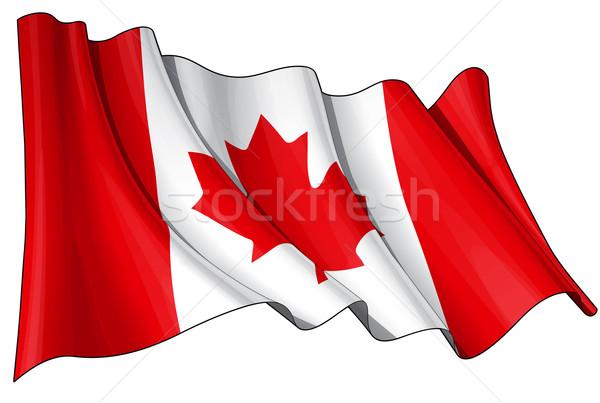 Pavillon Canada illustration drapeau canadien blanche Photo stock © nazlisart