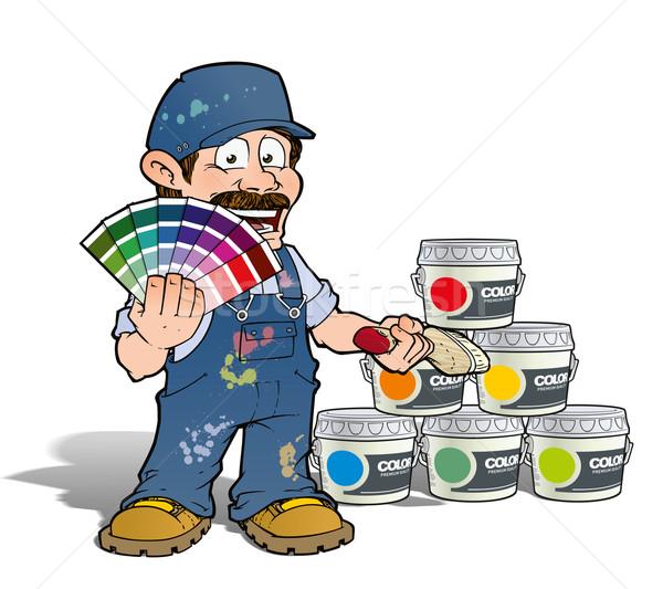 Handyman - Colour Picking Painter - blue Stock photo © nazlisart
