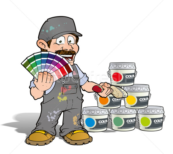 Handyman - Colour Picking Painter - Gray Stock photo © nazlisart
