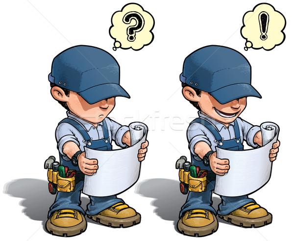 Handyman - Reading Plan Blue Stock photo © nazlisart