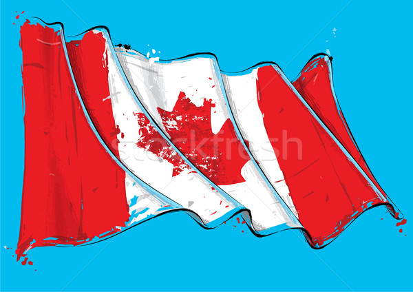 Canadian Artistic Brush Stroke Waving Flag Stock photo © nazlisart