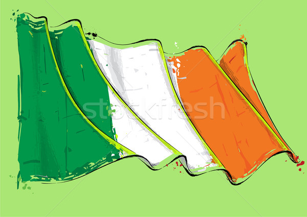 Irish Artistic Brush Stroke Waving Flag Stock photo © nazlisart
