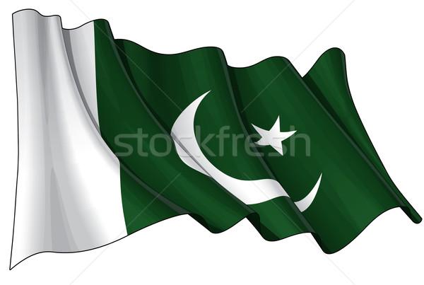 Pakisztáni zászló illusztráció integet zöld csillag Stock fotó © nazlisart