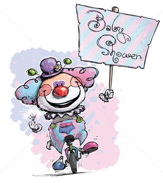 Bohóc egykerekű bicikli születésnapi buli plakát illusztráció tart Stock fotó © nazlisart
