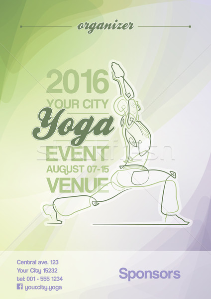 Yoga Event Poster Green & Purple Stock photo © nazlisart