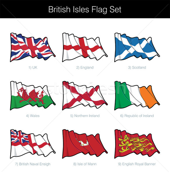 British Isles Waving Flag Set Stock photo © nazlisart